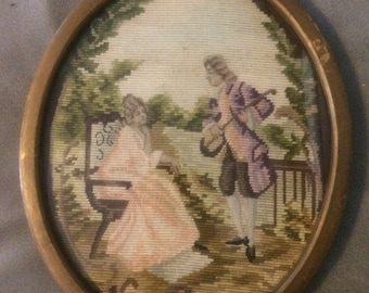 Antique Needlepoint - Antique Frame - Framed Needlepoint of French Aristocracy