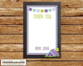 Camping Thank You Card | Purple Chalkboard Camping Thank You | Glamping Thank You Card | DIY Printable