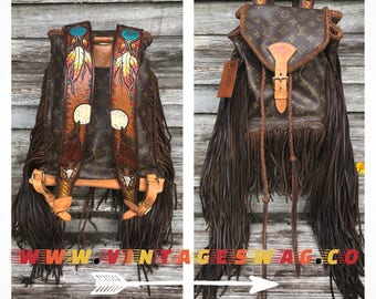 Vintage Swag Fringed Vintage Louis Vuitton Backpack w/ Native American Straps