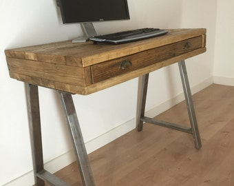 Reclaimed Pine Box Desk with Drawer Solid Wood Dressing Table A-Frame Legs