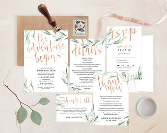 Rose gold wedding set, Blush wedding invitation set, Rose gold wedding invitation, Botanical wedding invitation, Printable rose gold wedding
