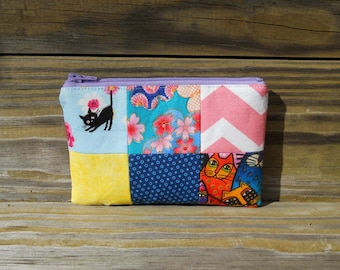 Zipper Pouch, Quilted Pouch, Cat Zipper Pouch, Patchwork Zipper Pouch, One of a Kind