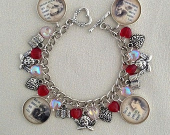 Love Poetry/Poetry Lover Silver Charm Bracelet with Czech Glass Hearts