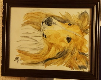 Watercolor Pencil Collie Painting or Print