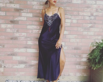 80's Maxi Nightgown VINTAGE Embroidered Lingerie Silky Satin Slip Dress S