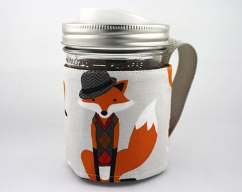 ReFluff, mason jar sleeve, mason jar cozy, eco friendly, fox, fedora, sweater vest, hipster ,eco gift, cuppow, starbucks, fox wearing hat