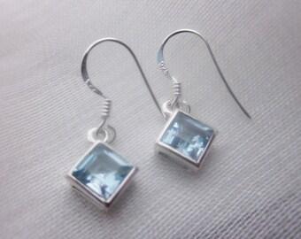 Gorgeous Blue Topaz Drop Silver Earrings