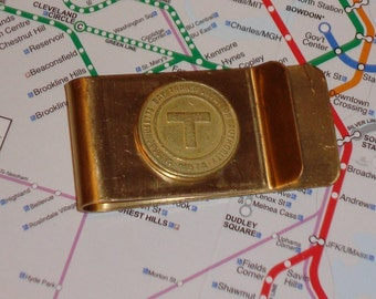 Boston subway token money clip