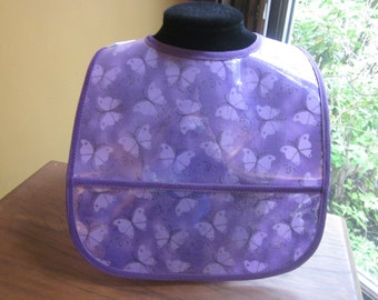 WATERPROOF WIPEABLE Baby to Toddler Plastic Coated Bib Purple Butterflies