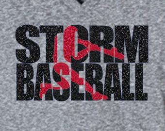 Baseball Team Shirt - Storm Baseball shown - Customize for your team! Knock out design baseball tshirt