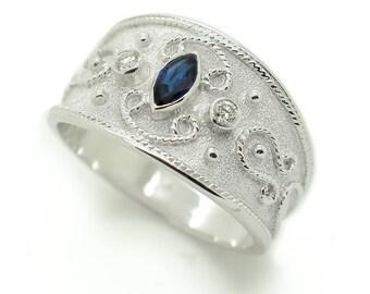 Unique Wedding Men Ring, Men Wedding Gold Rings, 18k Gold Men Ring, 18k White Gold Ring, Sapphire Ring, Wide Ring Men, 3 Stone Ring, Navette