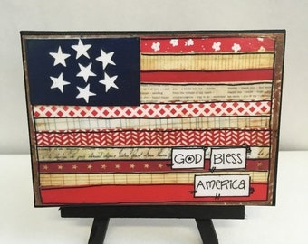 FIVE YEAR SALE Patriotic Print- Flag Print and Easel Set- Mounted Print -God Bless America