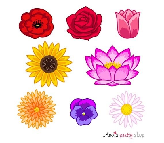 Flowers clip art flowers clipart colorful flowers flower heads flowers clip art flowers clipart colorful flowers flower heads poppy rose tulip sunflower lotus chrysanthemum violet daisy from anasprettyshop on mightylinksfo