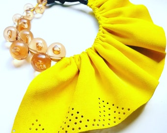 Yellow Half Leather Necklace