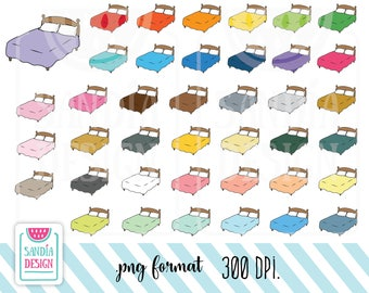 40 Doodle Bed Clipart. Personal and comercial use.