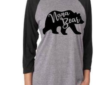 Nana Bear Raglan Baseball T-Shirt