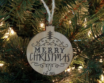 Christmas Ornament, Personalized Ornament, Custom Christmas Ornament, Wood Engraved Ornament, Wood Ornament, --ORN-WOOD-Merry Christmas