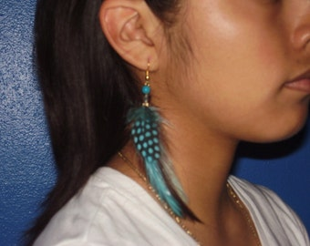 GUINEA - Turquoise and Brown Feather Earrings Accented With A Glass Bead, Weddings, Bridesmaids Set, For Her, Hand Made