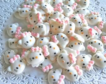 10 Kitty Cabochons, Resin, Kawaii, Flatback buttons