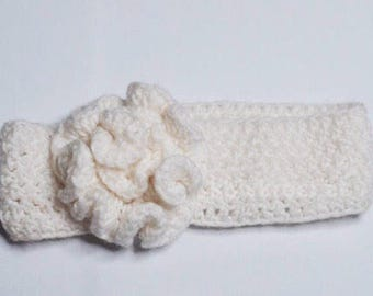 The Ruffled Flower Crochet Headband