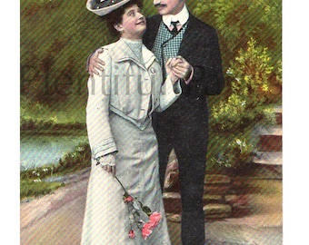 Early 1900's Vintage Postcard, Victorian Couple, Couple in Love, Antique Postcard, Collectible Postcard, Early 1900's Fashion.