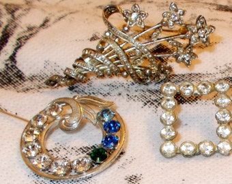 Sale Vintage Lot 3 Pins Brooches Gold Filled Van Dell Mother's Pin SP MLIND Pot Metal Clear Pastes Rhinestones VGC