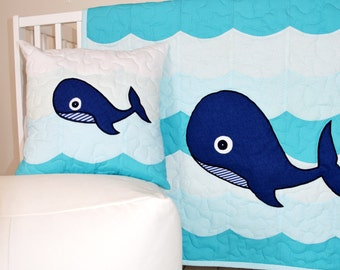 Nautical Nursery Bedding - Whale Crib Quilt, Childrens Room Blanket Nautical Room Decor, Ocean Bedspread for Kids Room, Blue Baby Fish