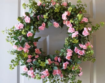 24in Spring Roses Bouquet,Summer wreath, Pink Mini Roses Cottage Wreath