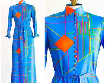 1970s geometric print long dress with mandarin collar