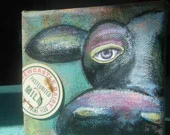 Mixed media OOAK moo cow painting with milk bottle lid