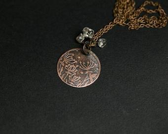 Copper necklace Organic necklace Copper jewelry Nature necklace Floral jewelry Dandelion Flowers Crystal quartz Meadow Rustic copper studio