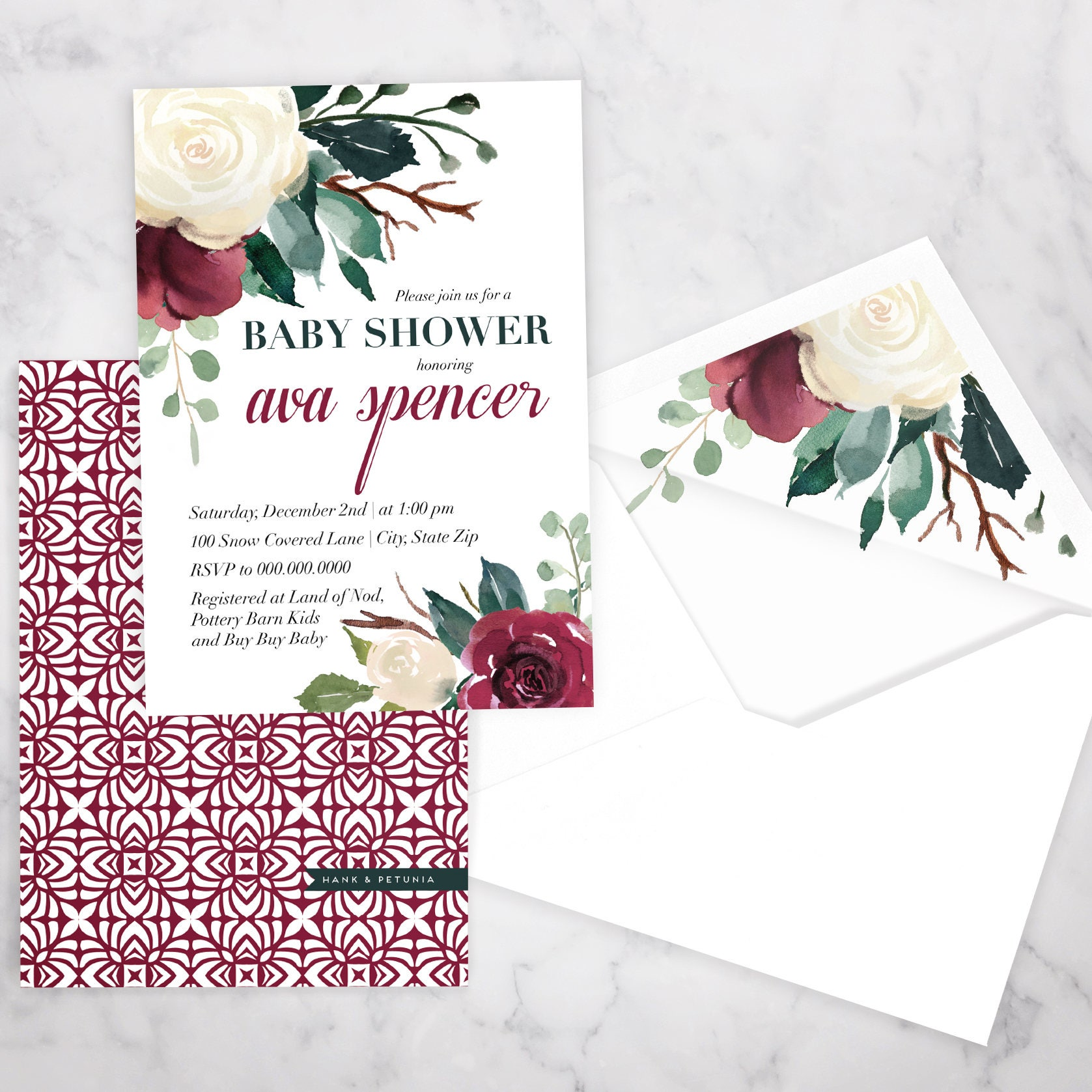 Winter Watercolor Floral Baby Shower Invitation, Holiday or ...