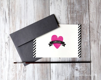 Heart Note Card, Hello Note Card - Printed Fold Over Note Card