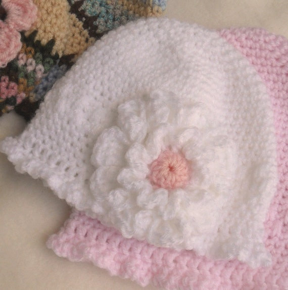 Crochet Pattern Delicate Single Crochet Beanie With Flowers