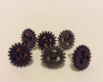 Small Cog, Gear Steampunk Stud Earrings