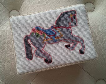 Cross stitch horse wooden treasure box