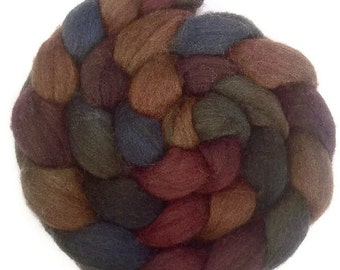 Handpainted Dark BFL Wool Roving - 4 oz. BOUNTIFUL - Spinning Fiber