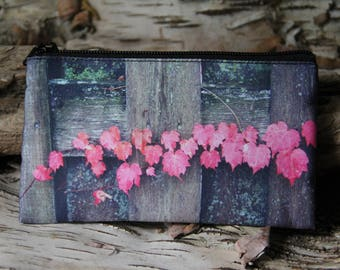 Fall Leaves on Fence | Colorful | 4x7 | Zip Up | Purse | Pouch | Wallet | Zipper Bag | with my Original Photo ART by StaticMovement