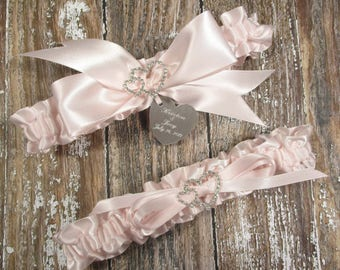 Blush Wedding Garter Set, Personalized Satin Garters with Engraving and Rhinestone Linked Hearts