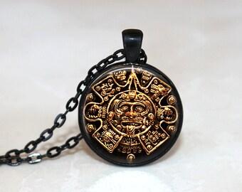 Glass Tile Necklace Sun Necklace Sun Jewelry Mayan Jewelry Glass Tile Jewelry Black Jewelry Indian Jewelry Silver Jewelry Black Jewelry