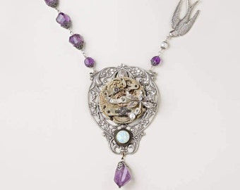 Amethyst Necklace, Steampunk Necklace with Vintage Pocket Watch, Opal, Pearl, Silver Dragonfly & Bird Charm, Flower and Leaf Pendant