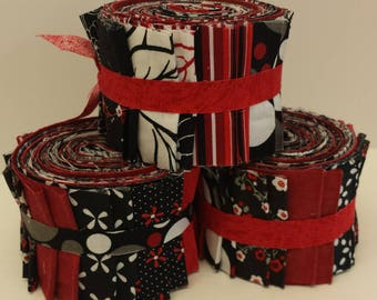 Red and Black Quilt Fabric Jelly Roll Strips - SEW FUN QUILTS Time Saver Quilt Kit