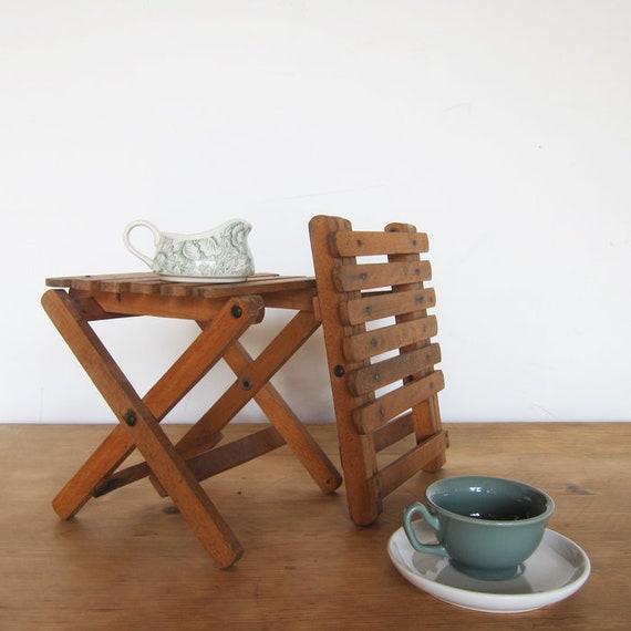 Folding Vintage Fishing Stools Old Small Seats Display Tables