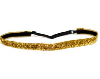 Adjustable Non-Slip Headband Gold Glitter