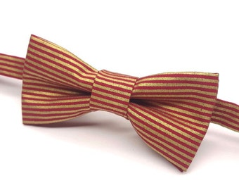 Red and Gold Christmas Bow tie, Christmas Bowtie, Gold Metallic Bow tie, Red and Gold Striped Bow tie, Holiday Bowtie, Christmas Party