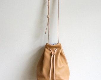 Camel Leather Bucket Bag