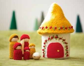 Doll house with family felted wool house wood peg dolls gold and red ready to ship