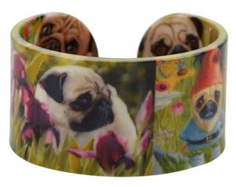Colorful Pug Cuff Bracelet ~ Whimsical Dog Jewelry