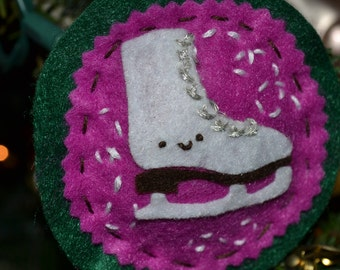 Embroidered Ice Skate Ornament