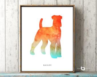 Schnauzer Wall Art, Personalized Name Of Pet, Watercolor Schnauzer Art , Schnauzer Print, Dog Painting, Dog Wall Art, Watercolor Art